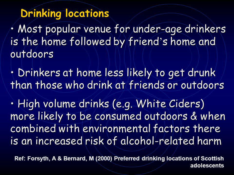 Drinking locations Drinking locations Most popular venue for under-age drinkers is the home followed by friend s home and outdoors Most popular venue for under-age drinkers is the home followed by friend s home and outdoors Drinkers at home less likely to get drunk than those who drink at friends or outdoors Drinkers at home less likely to get drunk than those who drink at friends or outdoors High volume drinks (e.g.