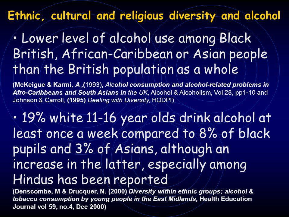 Lower level of alcohol use among Black British, African-Caribbean or Asian people than the British population as a whole (McKeigue & Karmi, A,(1993), Alcohol consumption and alcohol-related problems in Afro-Caribbeans and South Asians in the UK, Alcohol & Alcoholism, Vol 28, pp1-10 and Johnson & Carroll, (1995) Dealing with Diversity, HODPI) 19% white 11-16 year olds drink alcohol at least once a week compared to 8% of black pupils and 3% of Asians, although an increase in the latter, especially among Hindus has been reported (Denscombe, M & Drucquer, N.