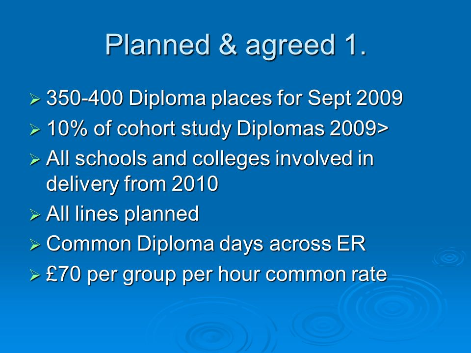 Planned & agreed 1. 350-400 Diploma places for Sept 2009 350-400 Diploma places for Sept 2009 10% of cohort study Diplomas 2009> 10% of cohort study D