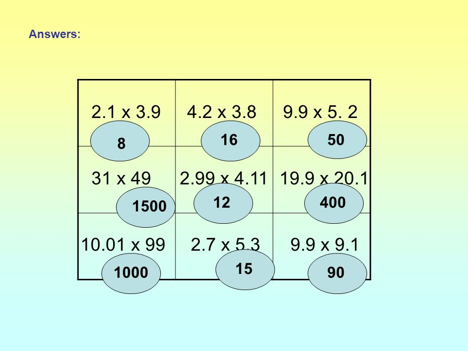 2.1 x 3.94.2 x 3.89.9 x 5. 2 31 x 492.99 x 4.1119.9 x 20.1 10.01 x 992.7 x 5.39.9 x 9.1 Estimate the answer to each multiplication in the target board
