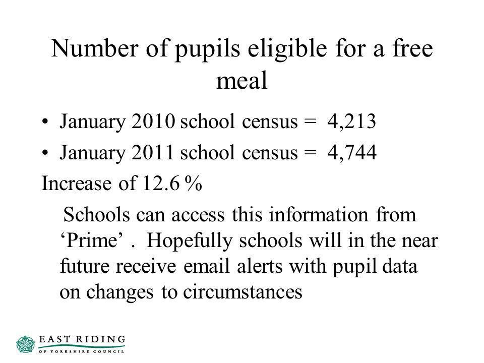 Number of pupils eligible for a free meal January 2010 school census = 4,213 January 2011 school census = 4,744 Increase of 12.6 % Schools can access this information from Prime.