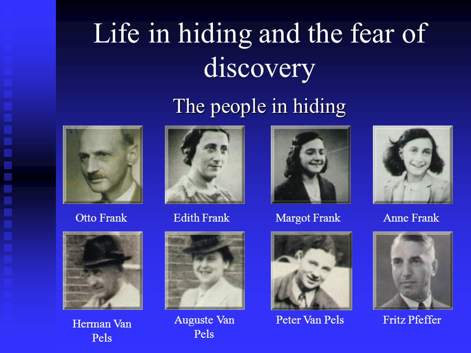 Life in hiding and the fear of discovery The people in hiding Otto FrankEdith FrankMargot Frank Anne Frank Herman Van Pels Auguste Van Pels Peter Van PelsFritz Pfeffer