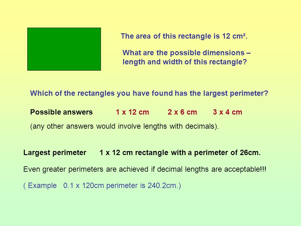 Objectives: Vocabulary: Deduce and use formula for the perimeter and area of a rectangle. Calculate the perimeter and area of shapes made from rectang