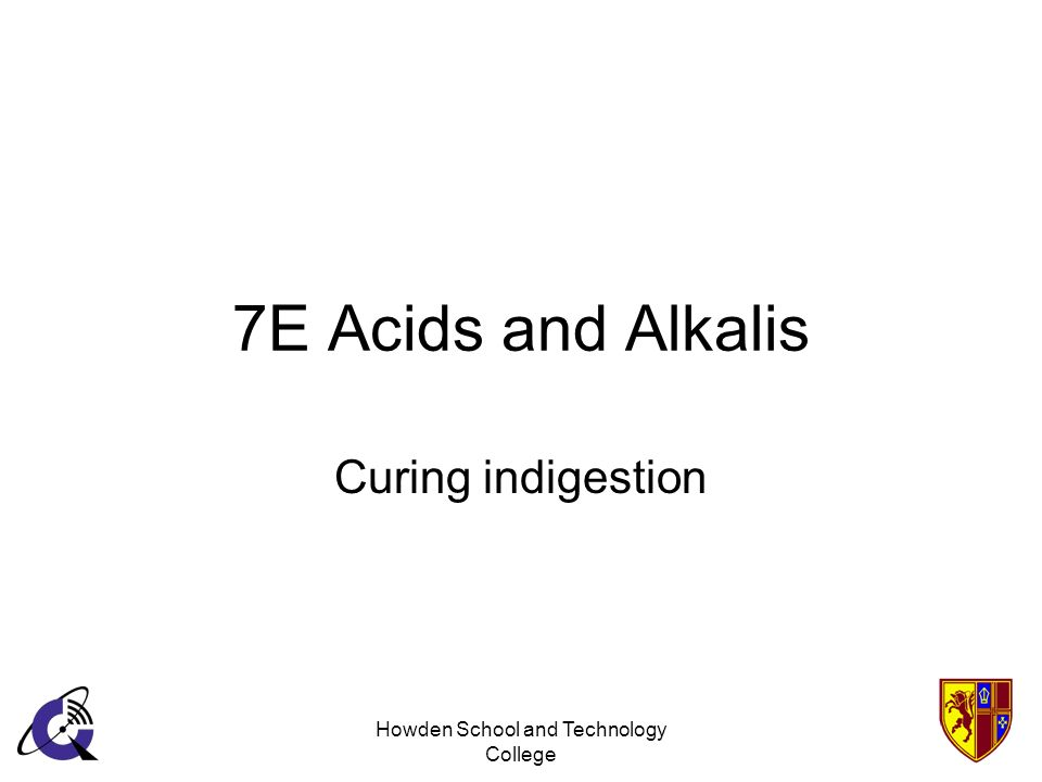 Howden School and Technology College 7E Acids and Alkalis Curing indigestion
