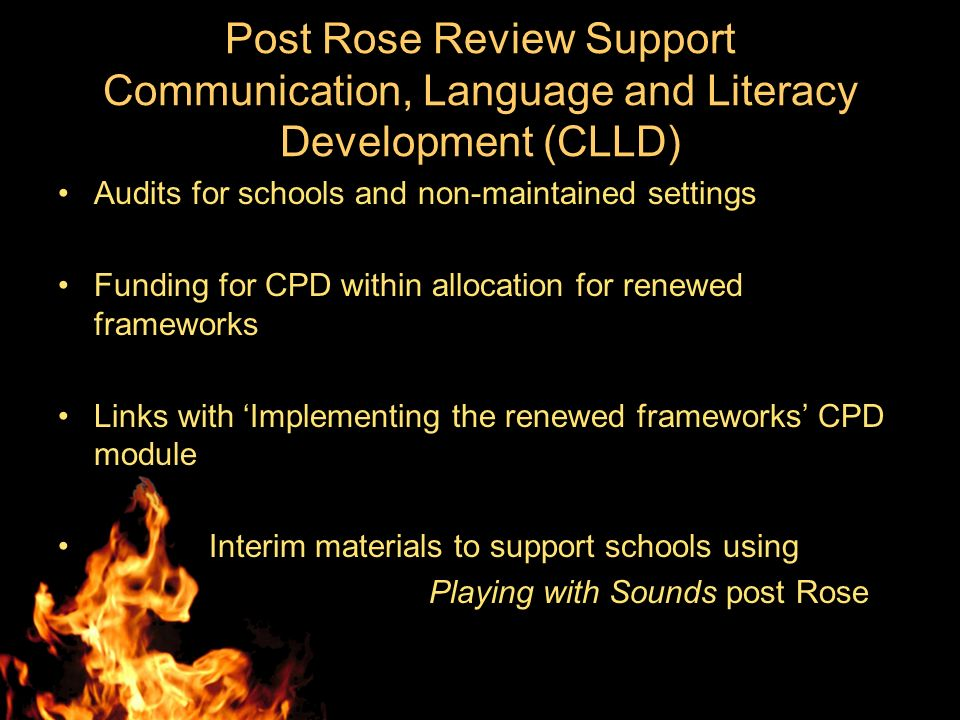 Post Rose Review Support Communication, Language and Literacy Development (CLLD) Audits for schools and non-maintained settings Funding for CPD within