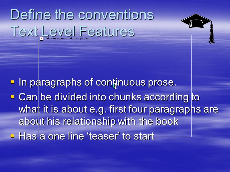 Lord of The Rings Look at the example Look at the example Read paragraphs 1 – 4 Read paragraphs 1 – 4 Text level features.