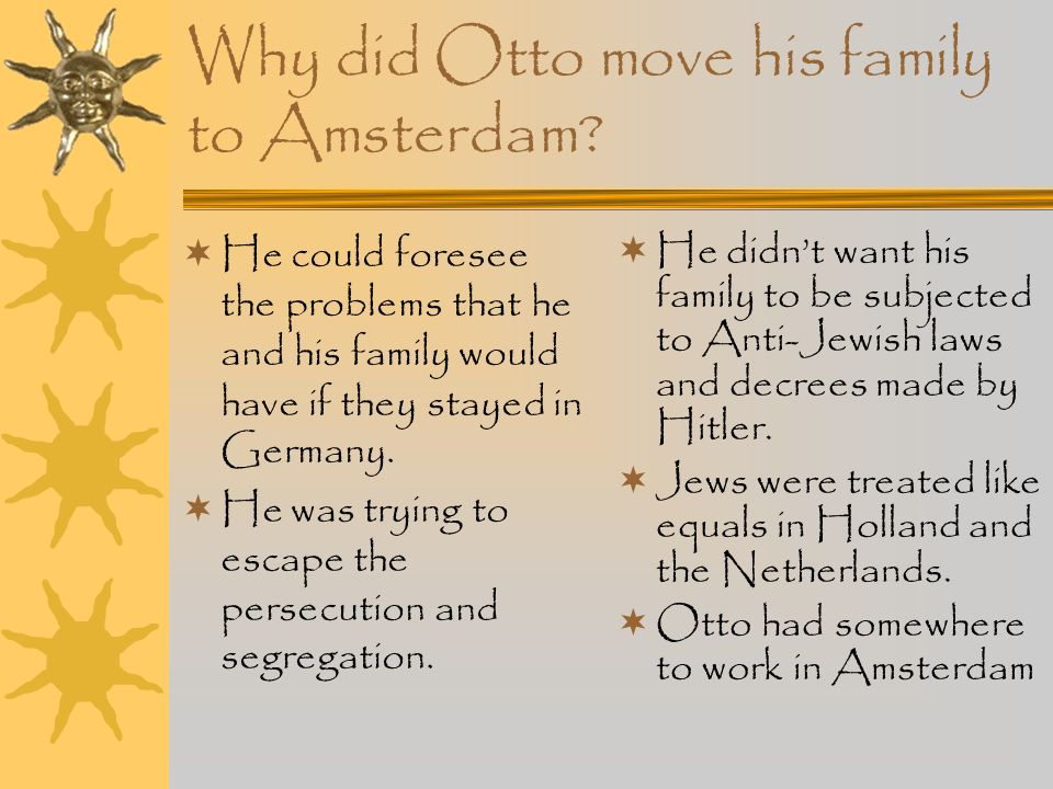 The Opekta company Annes father, Otto Frank had a jam-making business in Amsterdam. This was called Opekta. He moved the family to Amsterdam because h