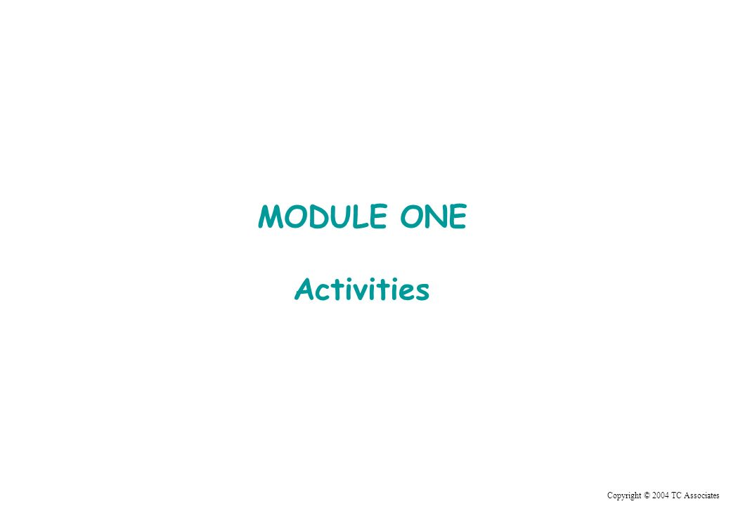 Copyright © 2004 TC Associates MODULE ONE Activities