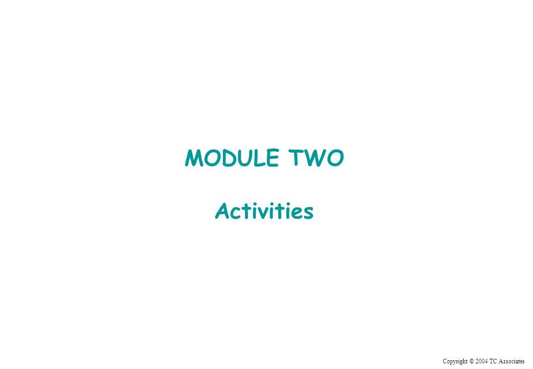 Copyright © 2004 TC Associates MODULE TWO Activities