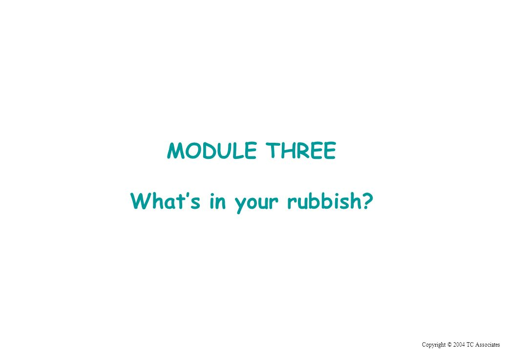 Copyright © 2004 TC Associates MODULE THREE Whats in your rubbish?