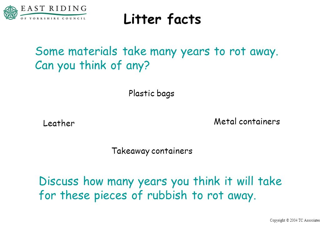 Copyright © 2004 TC Associates Litter facts Plastic bags Leather Metal containers Up to 20 years Up to 40 years Up to 100 years .