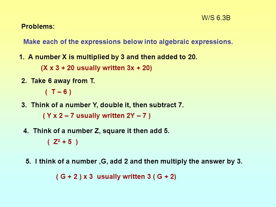 Expression in words: Add seven to a number. Expression in symbols: N + 7 Equation in words: Add 7 to a number and youll get 15. Equation in symbols: N