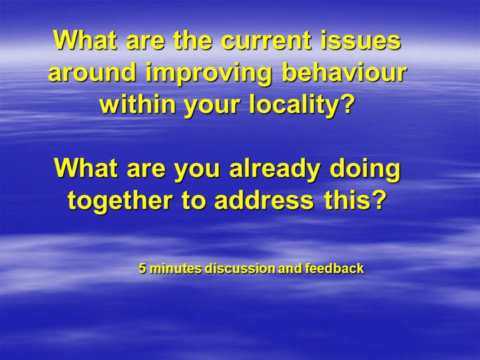 What are the current issues around improving behaviour within your locality.