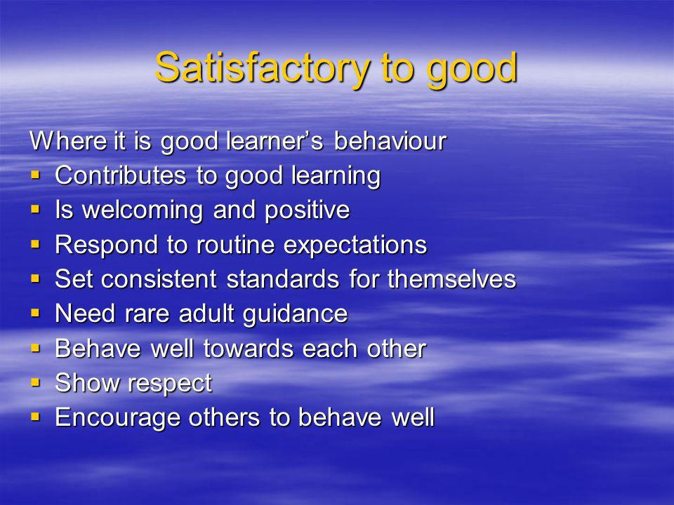 Satisfactory to good Where it is good learners behaviour Contributes to good learning Contributes to good learning Is welcoming and positive Is welcoming and positive Respond to routine expectations Respond to routine expectations Set consistent standards for themselves Set consistent standards for themselves Need rare adult guidance Need rare adult guidance Behave well towards each other Behave well towards each other Show respect Show respect Encourage others to behave well Encourage others to behave well
