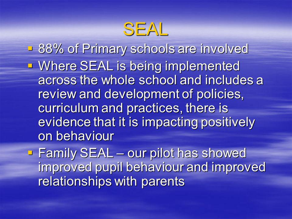 SEAL 88% of Primary schools are involved 88% of Primary schools are involved Where SEAL is being implemented across the whole school and includes a review and development of policies, curriculum and practices, there is evidence that it is impacting positively on behaviour Where SEAL is being implemented across the whole school and includes a review and development of policies, curriculum and practices, there is evidence that it is impacting positively on behaviour Family SEAL – our pilot has showed improved pupil behaviour and improved relationships with parents Family SEAL – our pilot has showed improved pupil behaviour and improved relationships with parents