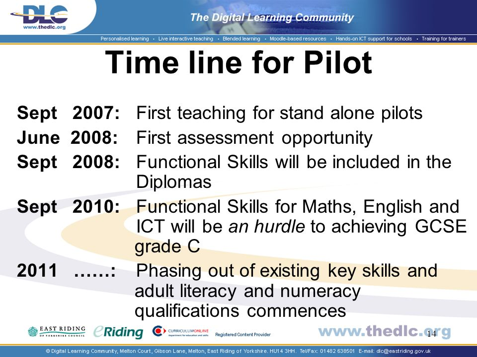 14 Time line for Pilot Sept 2007: First teaching for stand alone pilots June 2008: First assessment opportunity Sept 2008: Functional Skills will be included in the Diplomas Sept 2010:Functional Skills for Maths, English and ICT will be an hurdle to achieving GCSE grade C 2011 ……: Phasing out of existing key skills and adult literacy and numeracy qualifications commences