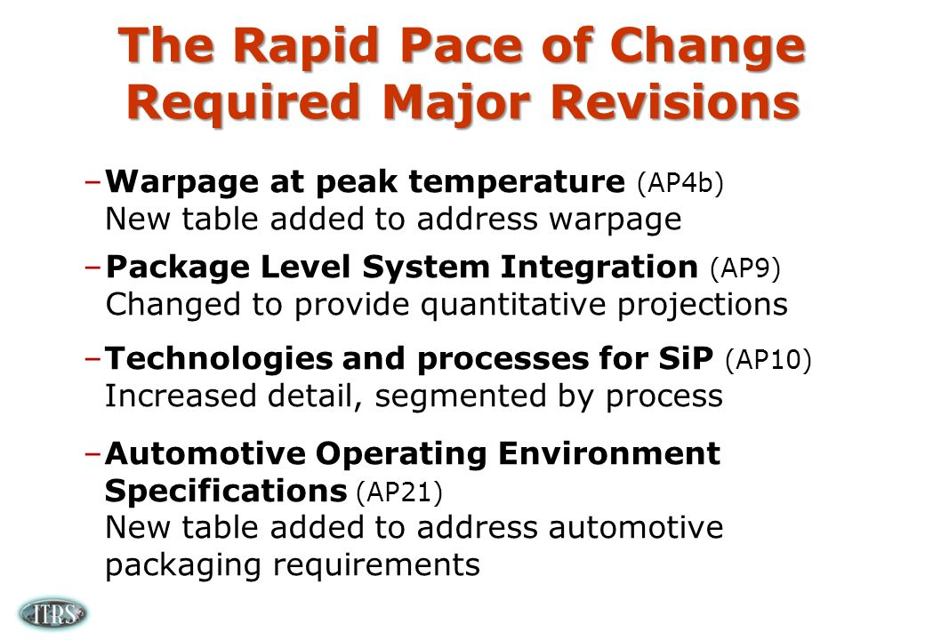 The Rapid Pace of Change Required Major Revisions –Warpage at peak temperature (AP4b) New table added to address warpage –Package Level System Integration (AP9) Changed to provide quantitative projections –Technologies and processes for SiP (AP10) Increased detail, segmented by process –Automotive Operating Environment Specifications (AP21) New table added to address automotive packaging requirements