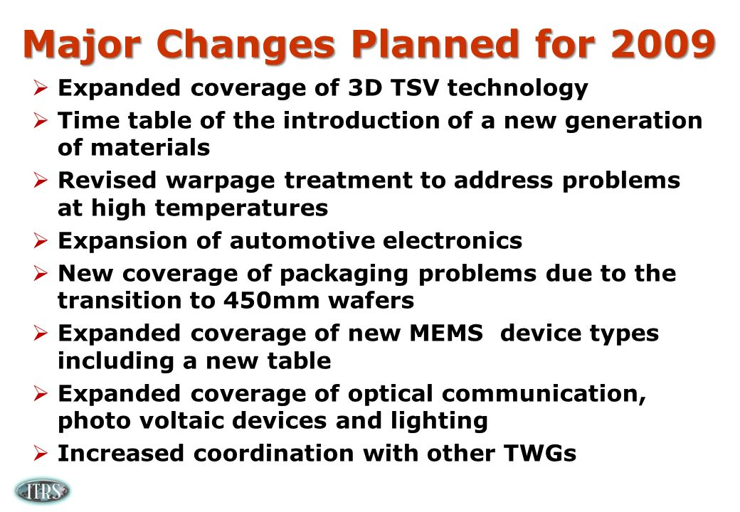 Major Changes Planned for 2009 Expanded coverage of 3D TSV technology Time table of the introduction of a new generation of materials Revised warpage treatment to address problems at high temperatures Expansion of automotive electronics New coverage of packaging problems due to the transition to 450mm wafers Expanded coverage of new MEMS device types including a new table Expanded coverage of optical communication, photo voltaic devices and lighting Increased coordination with other TWGs