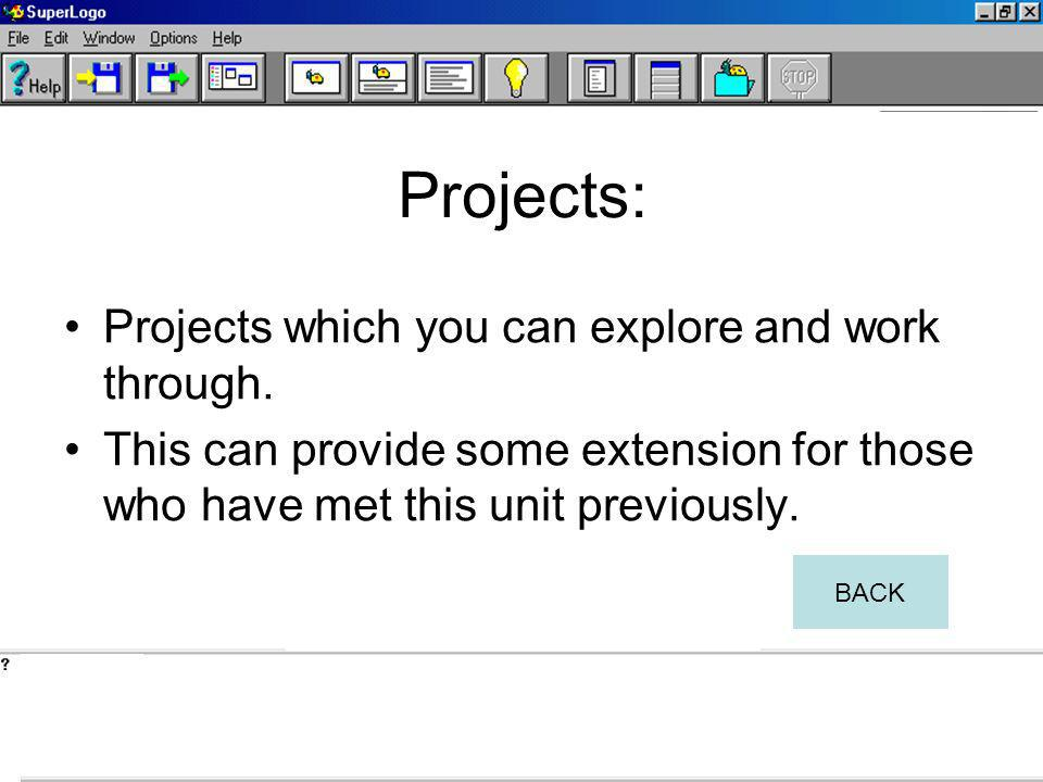 Projects: Projects which you can explore and work through.
