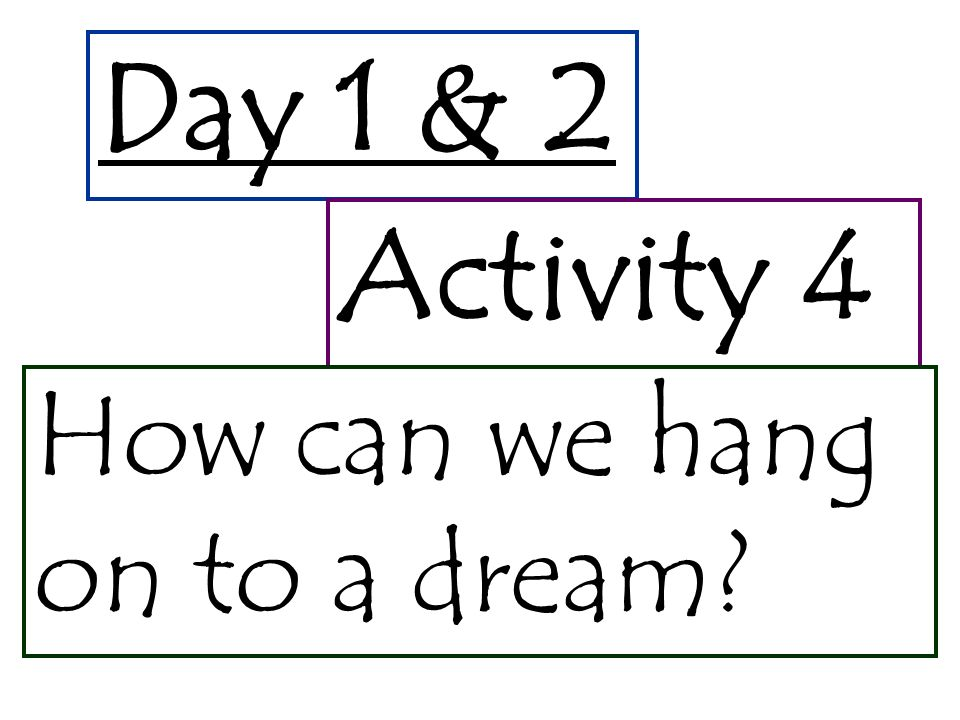 Day 1 & 2 Activity 4 How can we hang on to a dream?