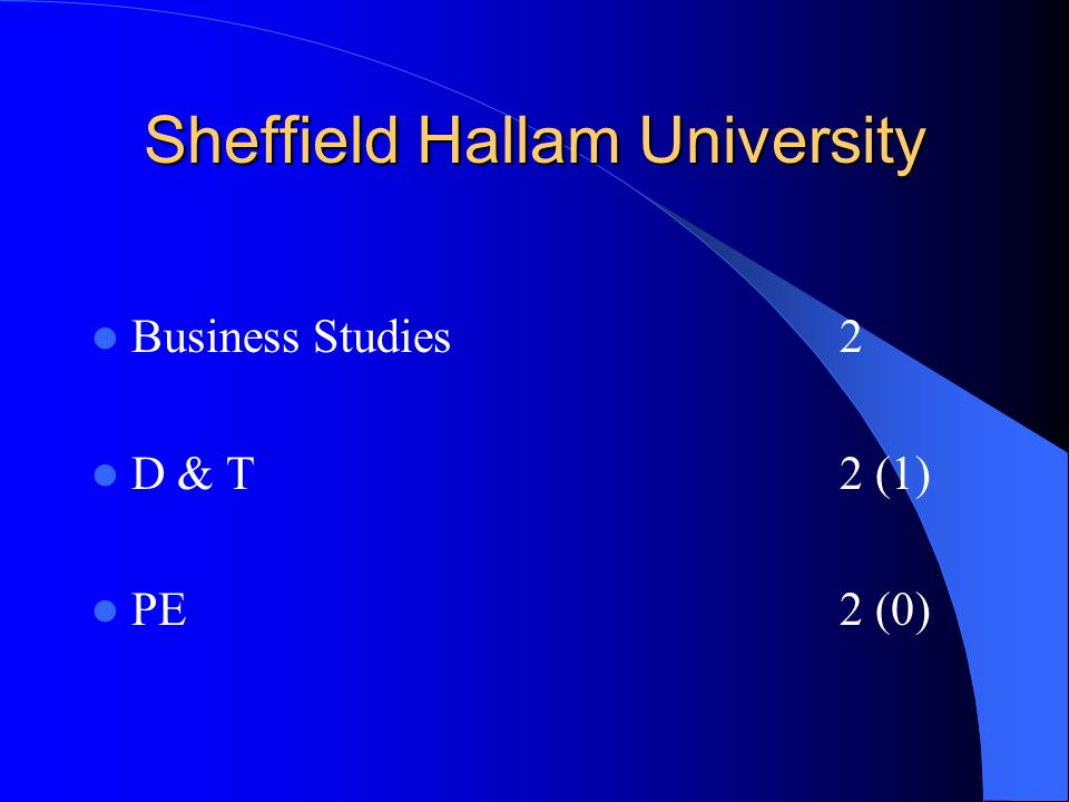 Sheffield Hallam University Business Studies2 D & T2 (1) PE2 (0)