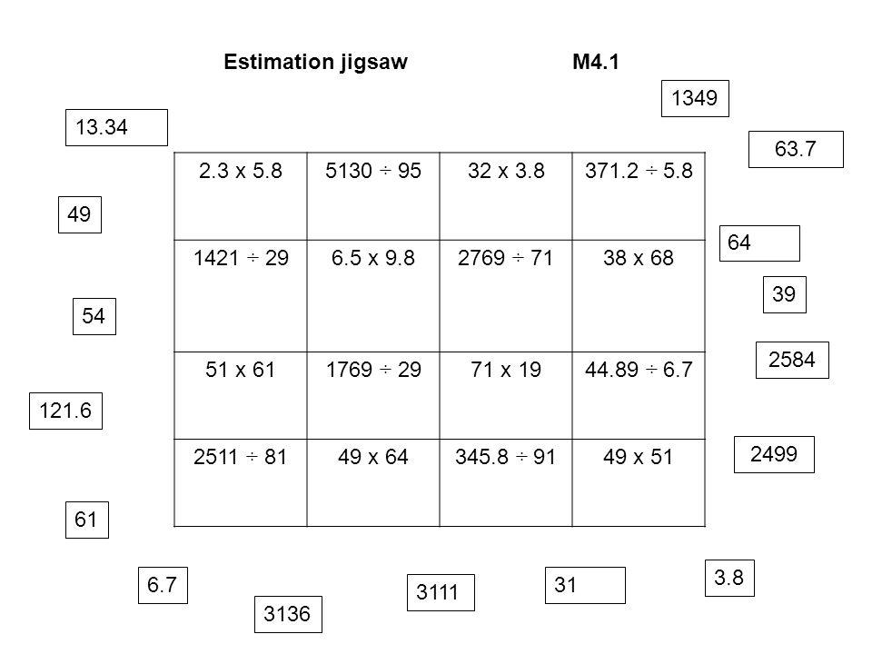 Estimation jigsawM4.1 2.3 x 5.85130 ÷ 9532 x 3.8371.2 ÷ 5.8 1421 ÷ 296.5 x 9.82769 ÷ 7138 x 68 51 x 611769 ÷ 2971 x 1944.89 ÷ 6.7 2511 ÷ 8149 x 64345.