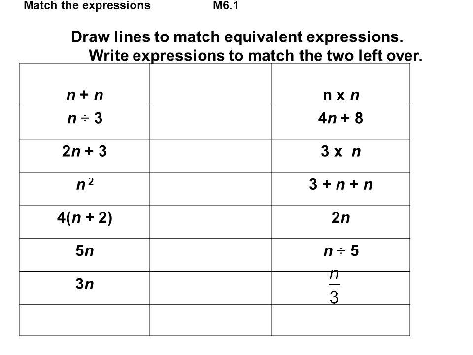Match the expressionsM6.1 Draw lines to match equivalent expressions. Write expressions to match the two left over. n + nn x n n ÷ 34n + 8 2n + 33 x n