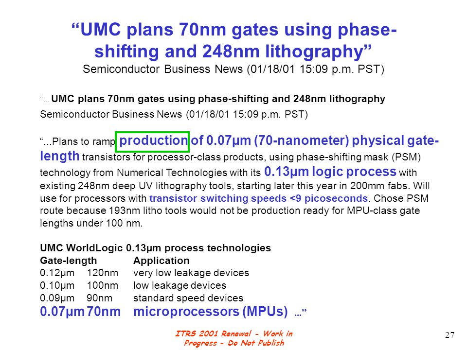 ITRS 2001 Renewal - Work in Progress - Do Not Publish 27 UMC plans 70nm gates using phase- shifting and 248nm lithography Semiconductor Business News (01/18/01 15:09 p.m.