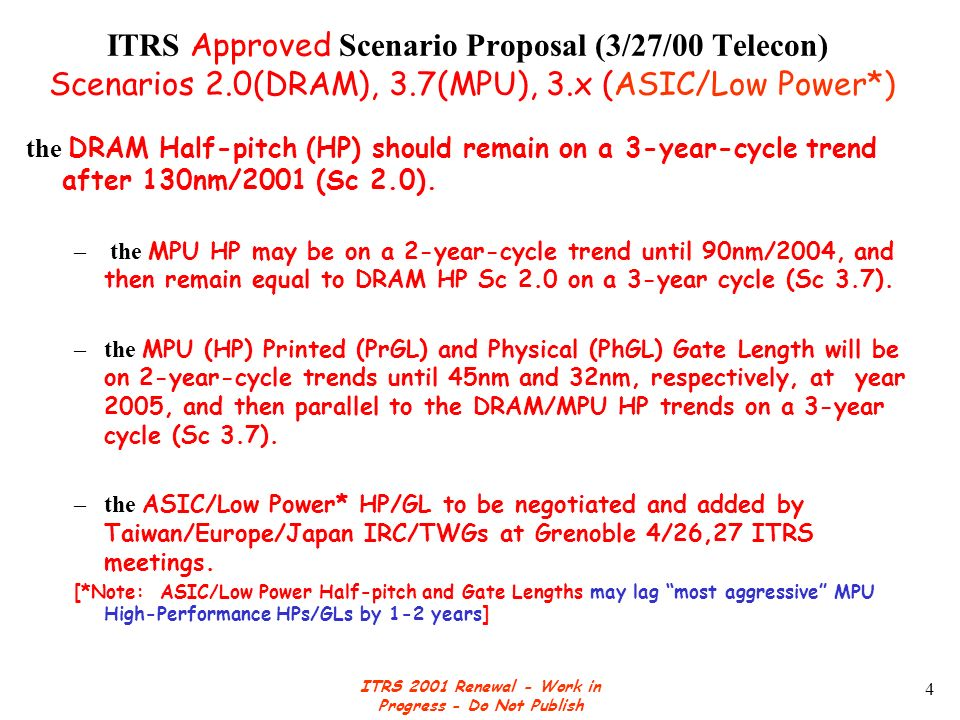 ITRS 2001 Renewal - Work in Progress - Do Not Publish 4 ITRS Approved Scenario Proposal (3/27/00 Telecon) Scenarios 2.0(DRAM), 3.7(MPU), 3.x (ASIC/Low Power*) the DRAM Half-pitch (HP) should remain on a 3-year-cycle trend after 130nm/2001 (Sc 2.0).