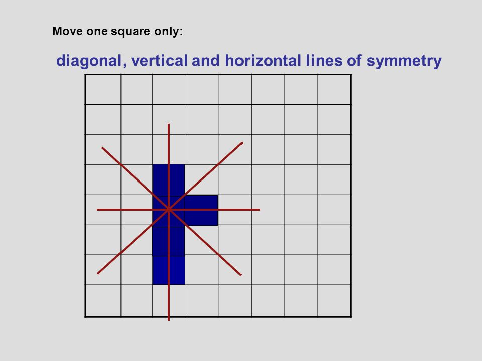 Move one square only: Vertical line of symmetry