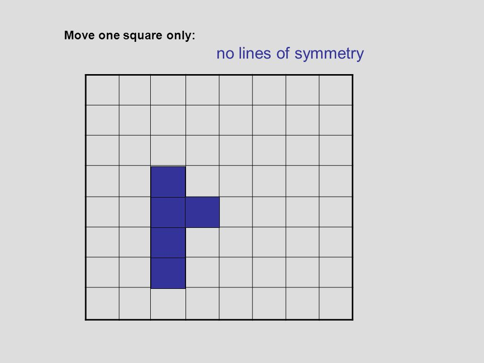 Move one square only: diagonal, vertical and horizontal lines of symmetry