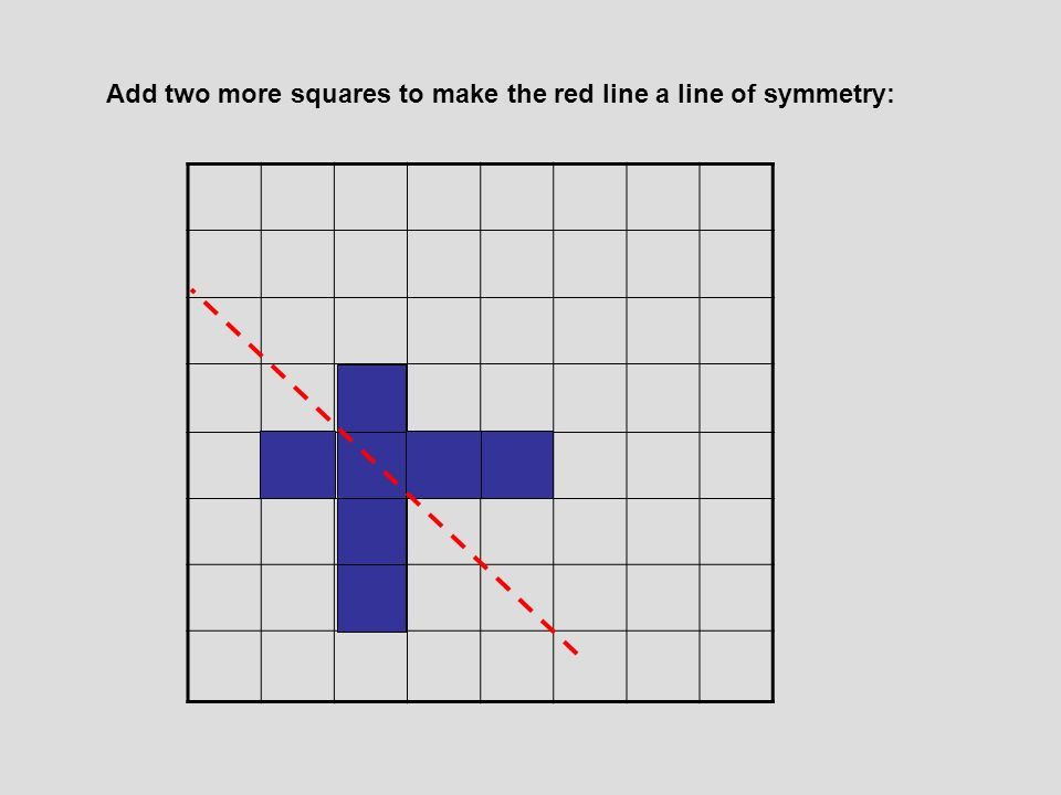 Add two more squares to make the red line a line of symmetry: