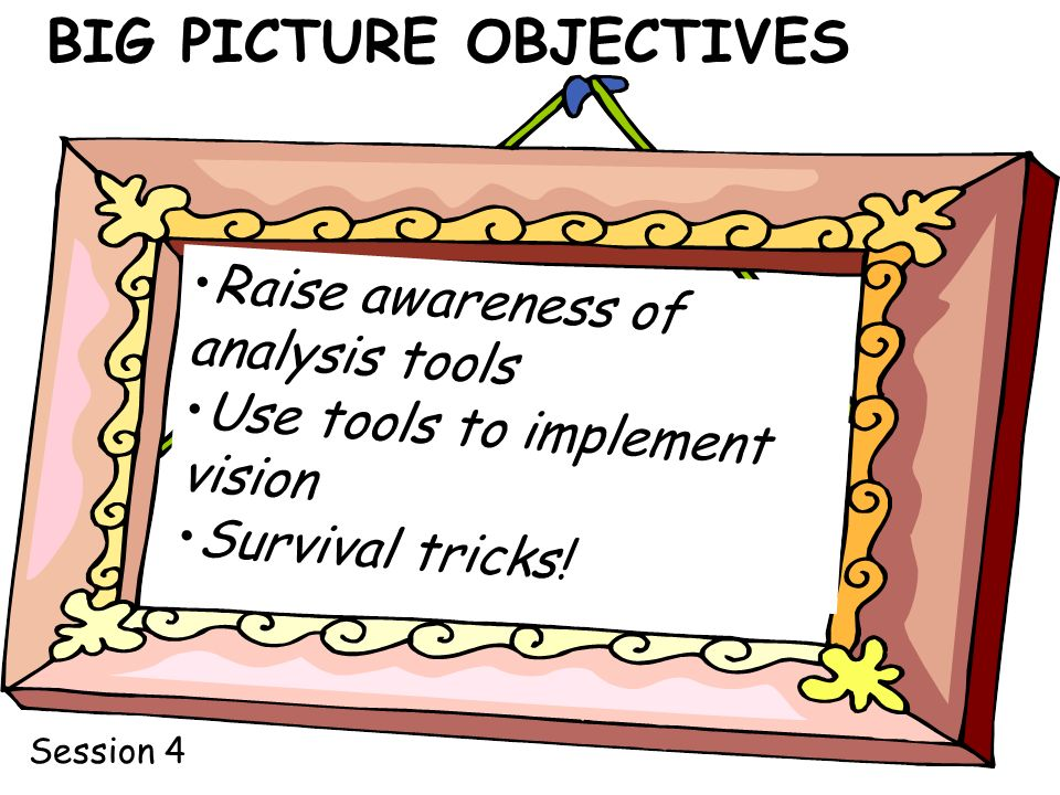 BIG PICTURE OBJECTIVES Raise awareness of analysis tools Use tools to implement vision Survival tricks.