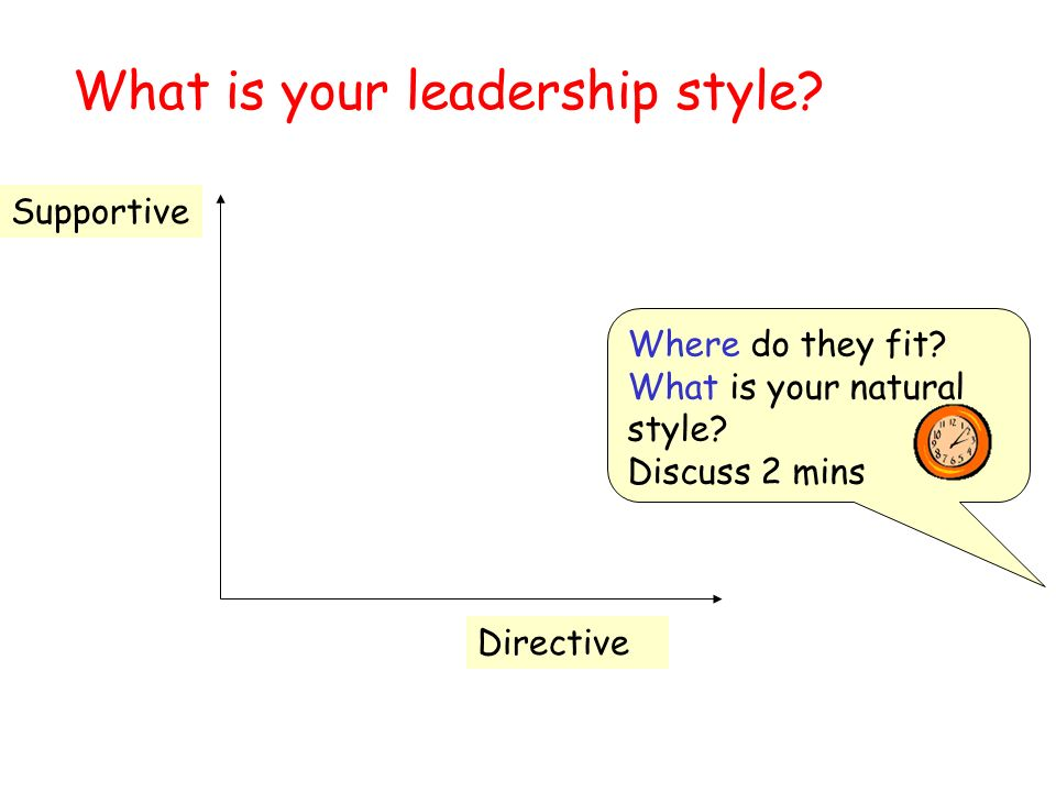 What is your leadership style. Supportive Directive Where do they fit.