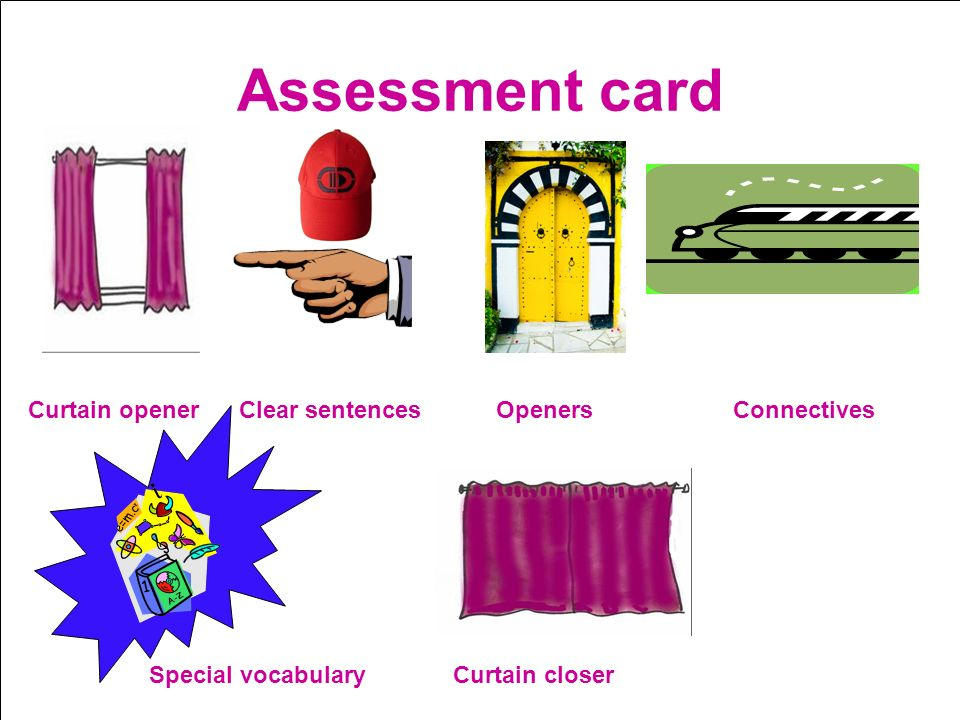 Assessment card Curtain opener Clear sentences Openers Connectives Special vocabulary Curtain closer