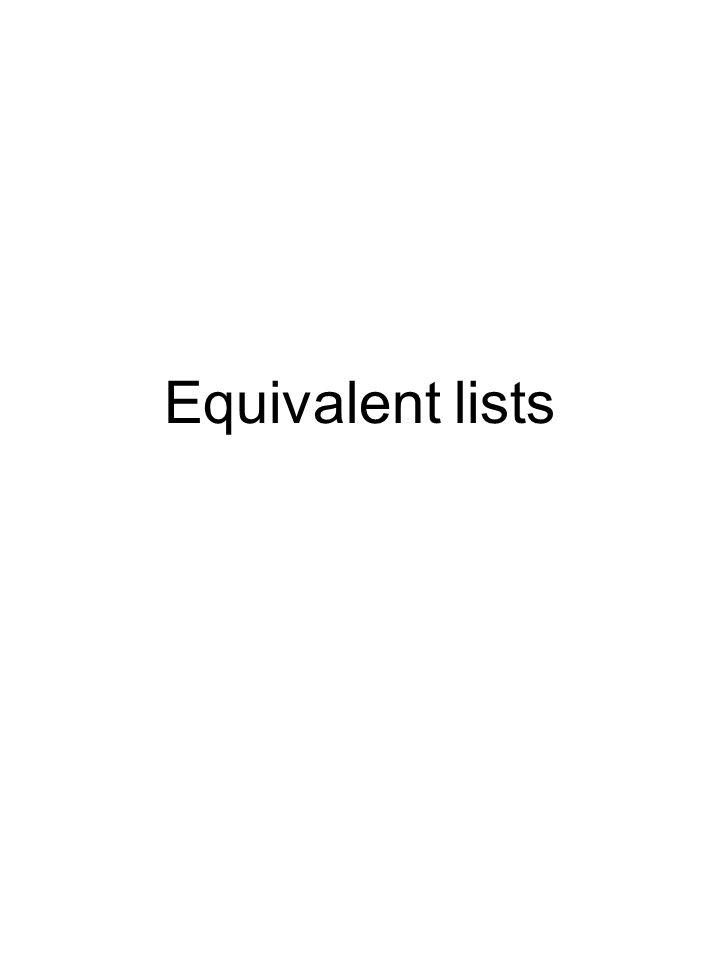 Equivalent lists
