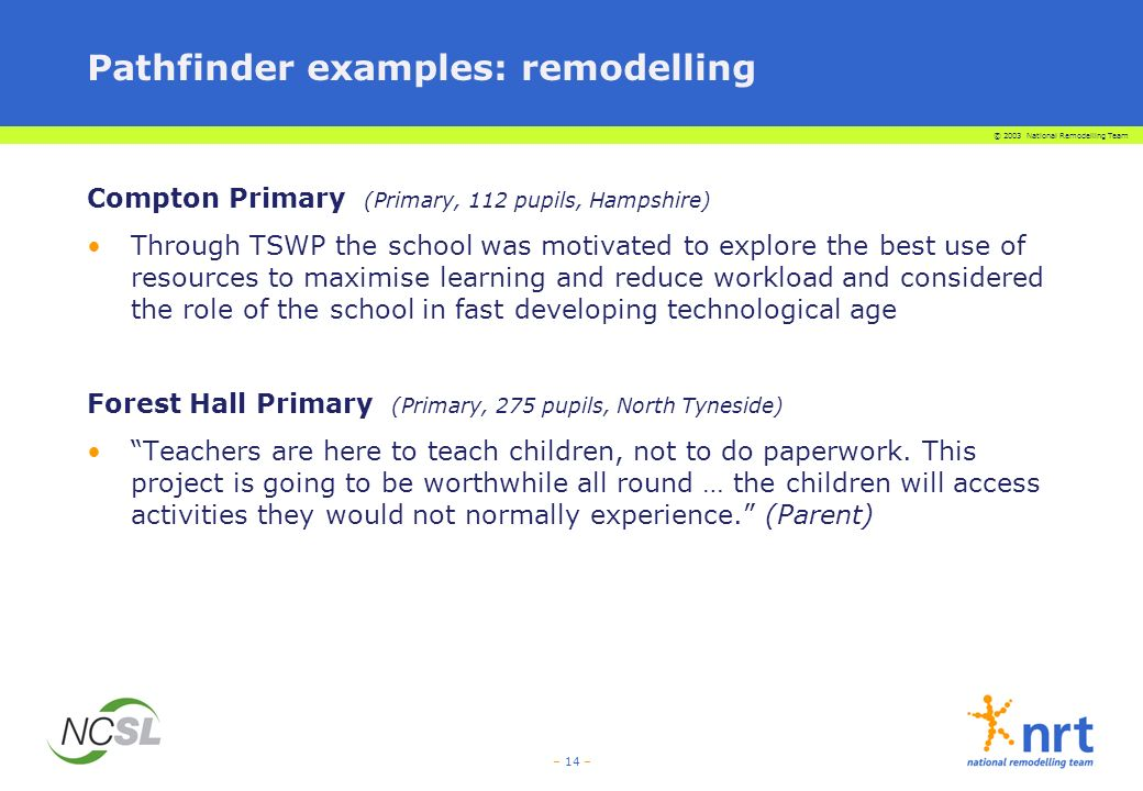 © 2003 National Remodelling Team – 14 – Pathfinder examples: remodelling Compton Primary (Primary, 112 pupils, Hampshire) Through TSWP the school was motivated to explore the best use of resources to maximise learning and reduce workload and considered the role of the school in fast developing technological age Forest Hall Primary (Primary, 275 pupils, North Tyneside) Teachers are here to teach children, not to do paperwork.