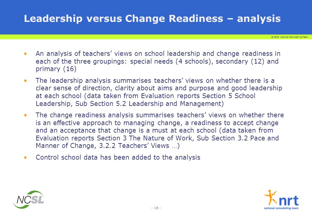 © 2003 National Remodelling Team – 18 – Leadership versus Change Readiness – analysis An analysis of teachers views on school leadership and change readiness in each of the three groupings: special needs (4 schools), secondary (12) and primary (16) The leadership analysis summarises teachers views on whether there is a clear sense of direction, clarity about aims and purpose and good leadership at each school (data taken from Evaluation reports Section 5 School Leadership, Sub Section 5.2 Leadership and Management) The change readiness analysis summarises teachers views on whether there is an effective approach to managing change, a readiness to accept change and an acceptance that change is a must at each school (data taken from Evaluation reports Section 3 The Nature of Work, Sub Section 3.2 Pace and Manner of Change, 3.2.2 Teachers Views …) Control school data has been added to the analysis