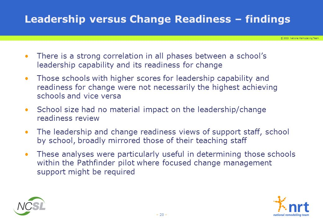 © 2003 National Remodelling Team – 20 – Leadership versus Change Readiness – findings There is a strong correlation in all phases between a schools leadership capability and its readiness for change Those schools with higher scores for leadership capability and readiness for change were not necessarily the highest achieving schools and vice versa School size had no material impact on the leadership/change readiness review The leadership and change readiness views of support staff, school by school, broadly mirrored those of their teaching staff These analyses were particularly useful in determining those schools within the Pathfinder pilot where focused change management support might be required