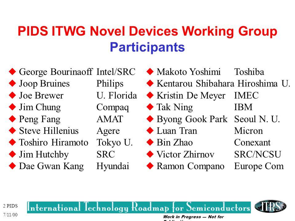Work in Progress --- Not for Publication 2 PIDS 7/11/00 PIDS ITWG Novel Devices Working Group Participants u George BourinaoffIntel/SRC u Joop Bruines