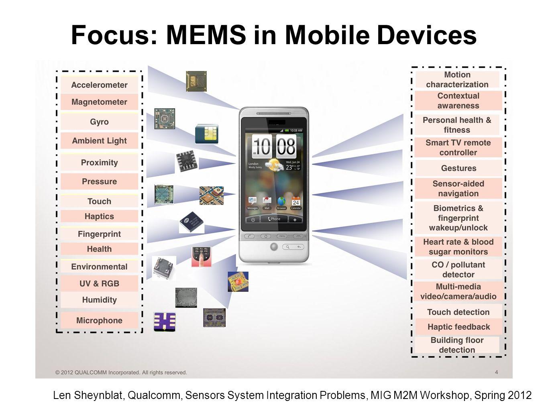 Len Sheynblat, Qualcomm, Sensors System Integration Problems, MIG M2M Workshop, Spring 2012 Focus: MEMS in Mobile Devices