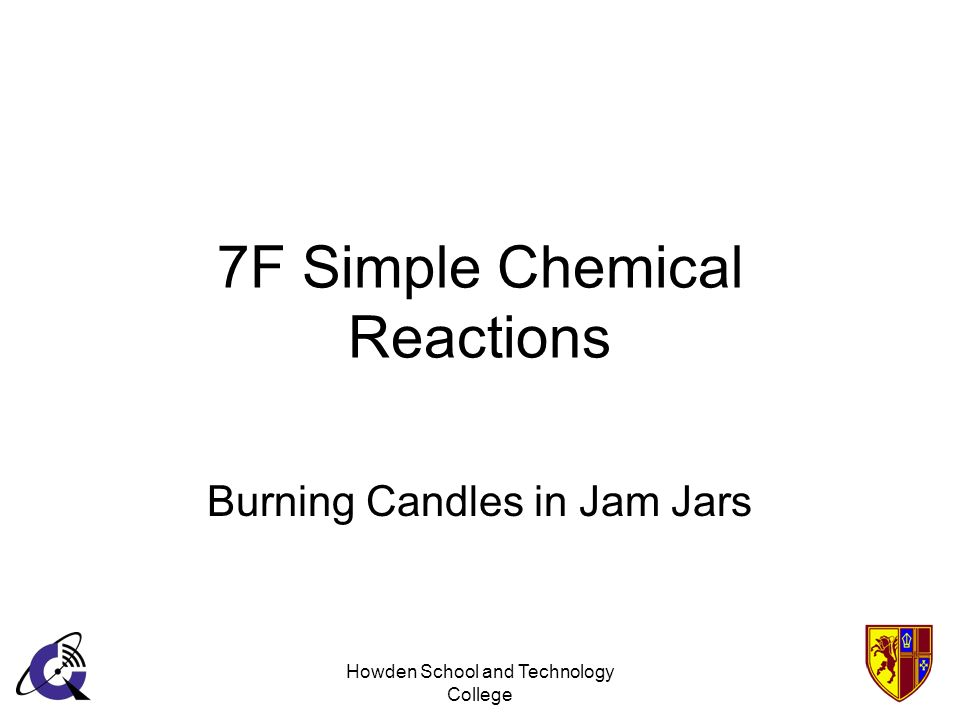 Howden School and Technology College 7F Simple Chemical Reactions Burning Candles in Jam Jars