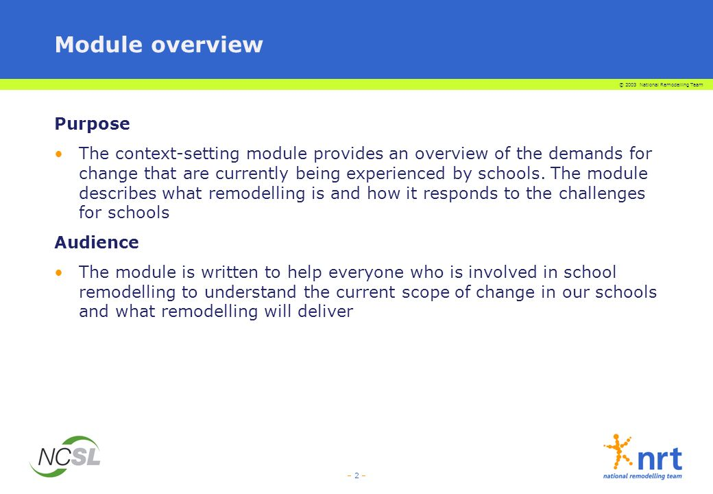 – 2 – Module overview Purpose The context-setting module provides an overview of the demands for change that are currently being experienced by schools.