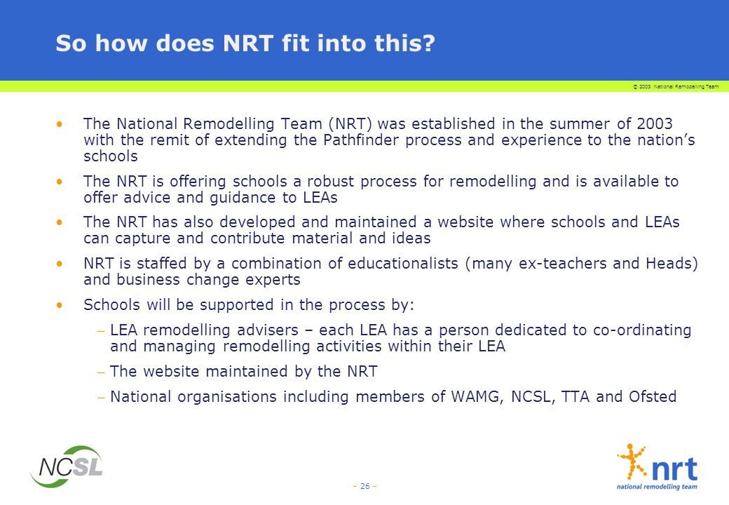 © 2003 National Remodelling Team – 26 – So how does NRT fit into this.