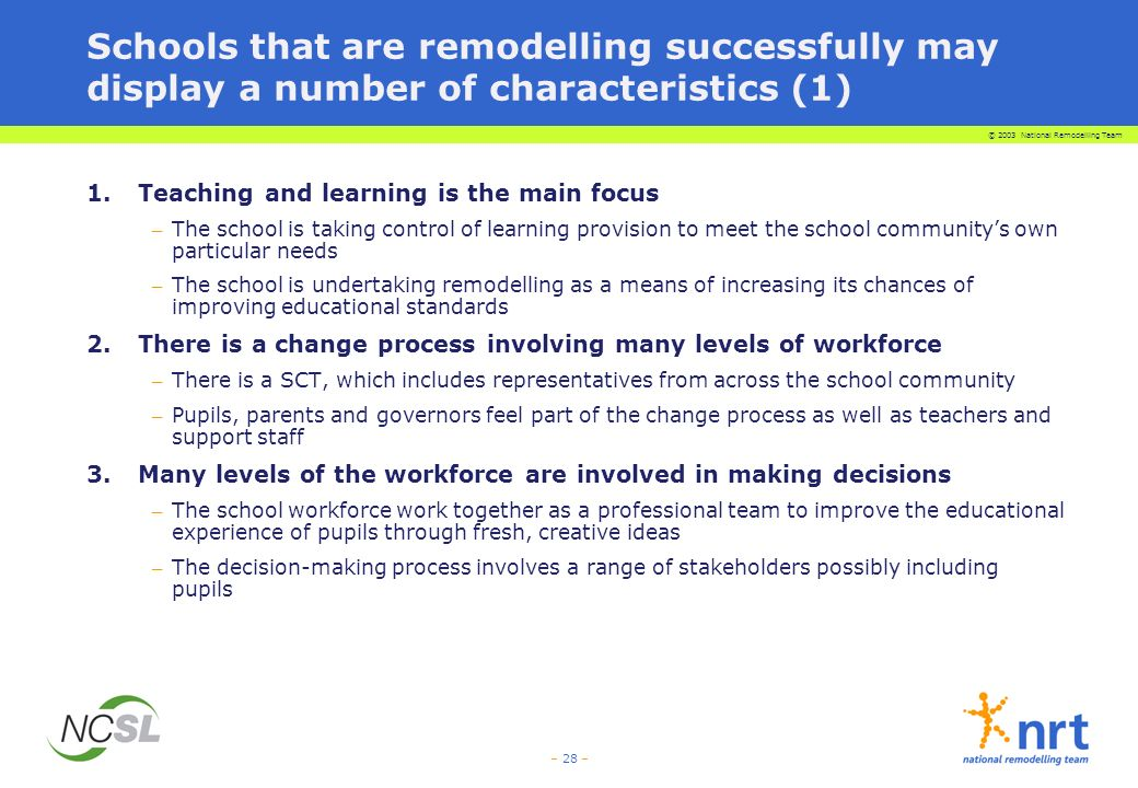 © 2003 National Remodelling Team – 28 – Schools that are remodelling successfully may display a number of characteristics (1) 1.