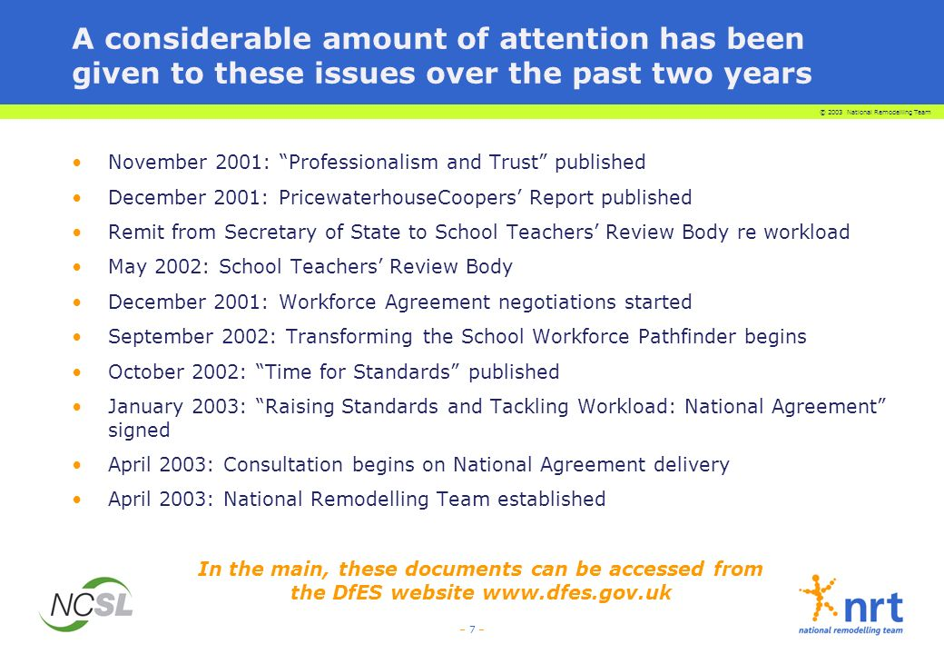 © 2003 National Remodelling Team – 7 – A considerable amount of attention has been given to these issues over the past two years November 2001: Professionalism and Trust published December 2001: PricewaterhouseCoopers Report published Remit from Secretary of State to School Teachers Review Body re workload May 2002: School Teachers Review Body December 2001: Workforce Agreement negotiations started September 2002: Transforming the School Workforce Pathfinder begins October 2002: Time for Standards published January 2003: Raising Standards and Tackling Workload: National Agreement signed April 2003: Consultation begins on National Agreement delivery April 2003: National Remodelling Team established In the main, these documents can be accessed from the DfES website www.dfes.gov.uk
