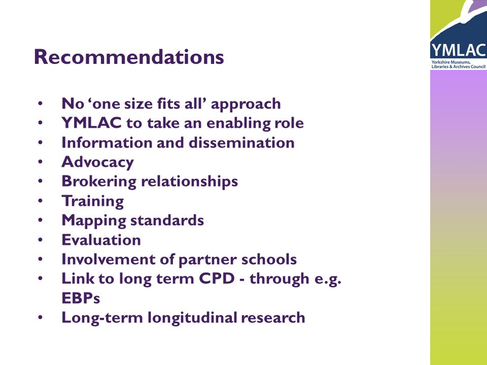 Recommendations No one size fits all approach YMLAC to take an enabling role Information and dissemination Advocacy Brokering relationships Training M