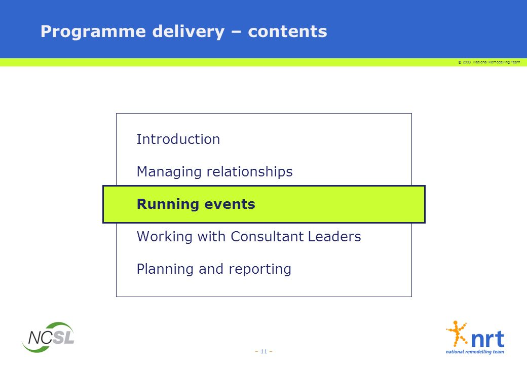 © 2003 National Remodelling Team – 11 – Programme delivery – contents Introduction Managing relationships Running events Working with Consultant Leaders Planning and reporting