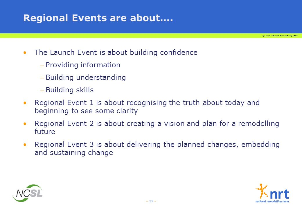 © 2003 National Remodelling Team – 12 – Regional Events are about….