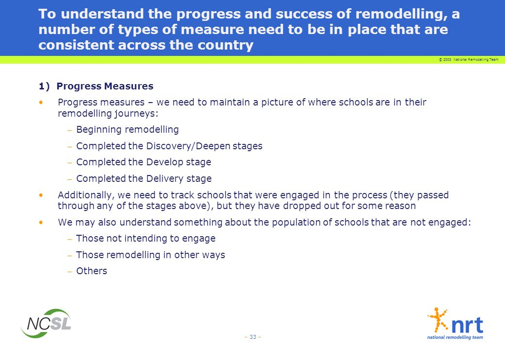 © 2003 National Remodelling Team – 33 – To understand the progress and success of remodelling, a number of types of measure need to be in place that are consistent across the country 1) Progress Measures Progress measures – we need to maintain a picture of where schools are in their remodelling journeys: – Beginning remodelling – Completed the Discovery/Deepen stages – Completed the Develop stage – Completed the Delivery stage Additionally, we need to track schools that were engaged in the process (they passed through any of the stages above), but they have dropped out for some reason We may also understand something about the population of schools that are not engaged: – Those not intending to engage – Those remodelling in other ways – Others